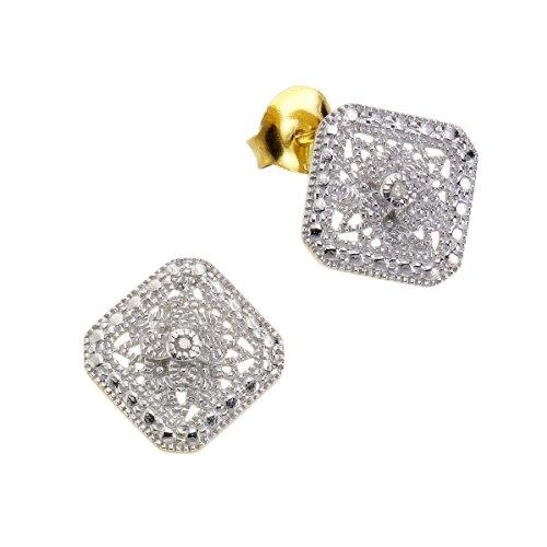 Diamonds by Ellen K. - Orecchini a lobo da donna con diamante (0,0212 ct), argento sterling 925, 11 mm, cod. 358220163V