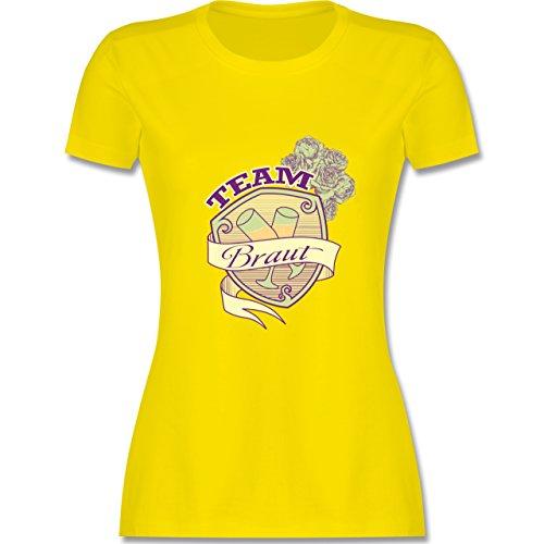 JGA Junggesellinnenabschied - Team Braut Schild - tailliertes Premium T-Shirt mit Rundhalsausschnitt für Damen Lemon Gelb