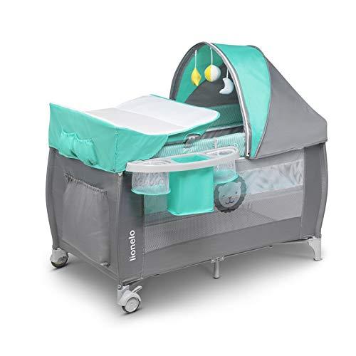 Lionelo Sven Plus 2in1 Reisebett Baby Laufstall Baby ab Geburt bis 15kg, Moskitonetz, Tragetasche, zusammenklappbar (Türkis/Grau)
