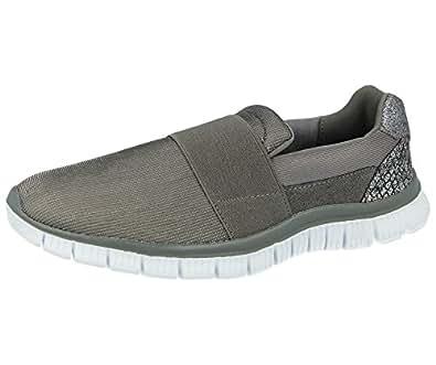 Cushion Walk Ladies Lightweight Memory Foam Slip On Canvas Pumps Plimsoll Casual Comfort Go Shoes Trainers Size 3-8 (UK 3, Scarlett Silver)