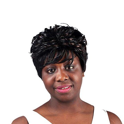 A.Monamour Mode À Court Ondulés Bruns Bouclés Résistant À La Chaleur De Mélange De Cheveux Synthétiques Pleine Perruque Noire