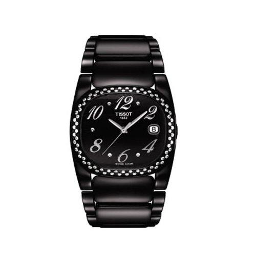 Tissot T-Moments T 0093101105702 - Orologio da polso da donna, cinturino in rivestito in acciaio inox colore nero