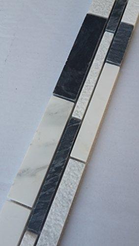 Mosaik Bordüre Marmor Naturstein Fliesen Grau Bianco Carrara Weiß Bad Küche B037 -