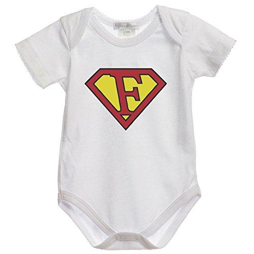 """Settantallora - BODY tutina bimbo neonato BDY78 Supereroe Lettera """"F"""" Nome Taglia 12/18 mesi"""