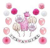 MW & P Babyparty Mädchen - Babyshower - It's a Girl - Baby Party Dekoration - Deko - Baby Shower Set (Banner, Luftballons, Pom Poms) - 18 Teile (Mädchen)