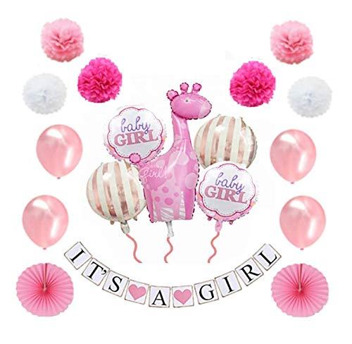 dchen/ Junge - Babyshower - It's a Girl/ It's a Boy - Baby Party Dekoration - Deko - Baby Shower Set (Banner, Luftballons, Pom Poms) - 18 Teile (Mädchen) ()