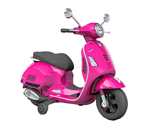 B70592 Moto eléctrica PIAGGIO para niños VESPA GTS con ruedas LED 12V - Fucsia