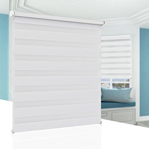 BelleMax Estor Enrollable Doble Tejido Sin Perforación, Noche y Día, Blanco 60cm x 150cm