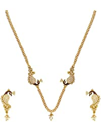 Adiva Traditional Bridal White Metal Alloy Jewellery Set With Necklace And Earring For Women