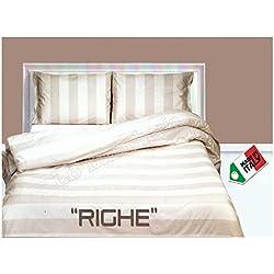 dolcenotte Edredón para cama de matrimonio con 2puestos de descanso, Shabby Chic, rayas, color natural