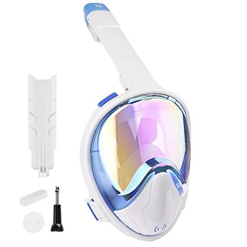 VILISUN Vollmaske Schnorchelmaske Tauchmaske Vollgesichtsmaske mit 180° Sichtfeld, Dichtung aus Silikon Anti-Fog und Anti-Leck Technologie(Blau (galvanische Beschichtung), S/M)