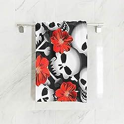 Ahomy Toallas de Mano, 38 cm x 76 cm, diseño de Calaveras con Flores Rojas, Toallas Multiusos, Extra absorbentes para baño, Mano, Gimnasio, SPA
