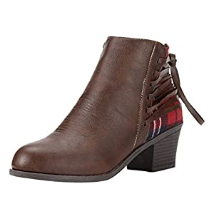 Toasye Frauen AußEnhandel Plaid Cross Strap Round Head Zipper Stiefel Damenmode Tie Kurze Booties Freizeitschuhe Schneestiefel