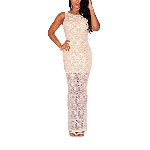 Erica delle donne del partito / Cocktail Club senza maniche girocollo aperto indietro Vestito di pizzo spacco laterale , white , one size