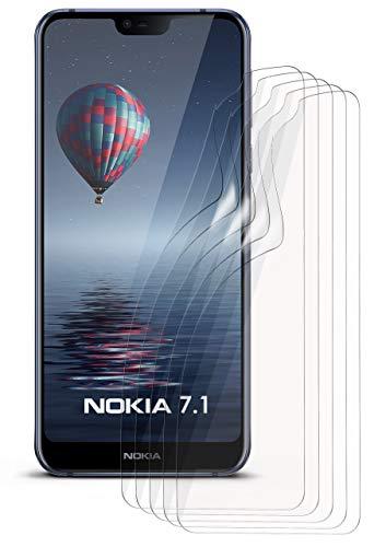 moex 5X Nokia 7.1 | Schutzfolie Klar Bildschirm Schutz [Crystal-Clear] Screen Protector Display Handy-Folie Dünn Bildschirmschutz-Folie für Nokia 7.1 Bildschirmfolie
