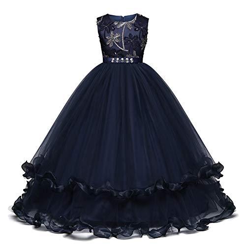 QSEFT Kindermädchen, Die Blumen-Mädchen-Kleid-Kind-Prinzessin-Partei-Festzug-Formale Showkleider Sleeveless Kleid 5-14 Jährige Abnutzung Tragen,Blue,150