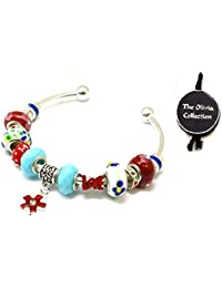 Toc Beadz Red and Blue Love Cuff Bangle For Slide On Bead