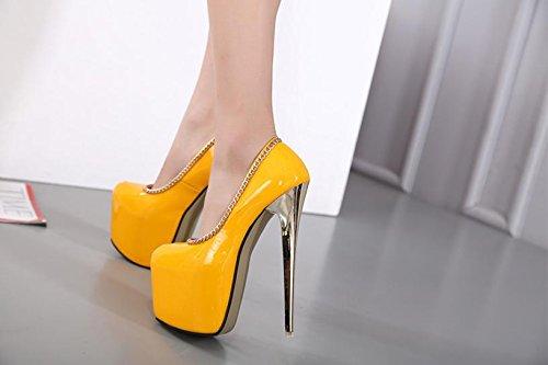 LvYuan-mxx Femmes chaussures à talons hauts / printemps été / imperméable plateforme peu profonde chaussures princesse bouche / Nightclub sexy / Bureau et carrière Robe de banquet / talon aiguille / s YELLOW-US75EU38UK55CN38