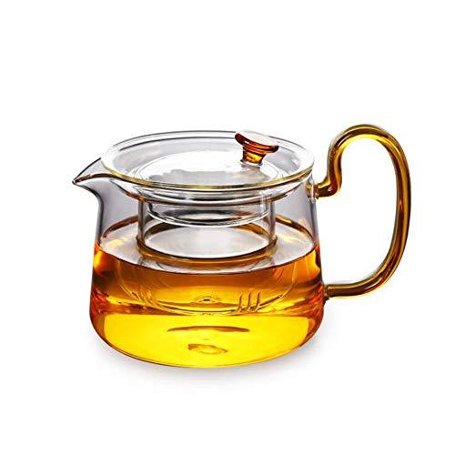ZJFSL Glaskessel Teekanne aus Klarglas Hitzebeständige Blumentopf mit Filter für loseblättrigen Tee und blühenden Tee,Gold