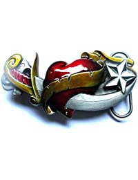 hotrodspirit - boucle de ceinture poignard dans un coeur rockabilly homme  femme 562efd1079b