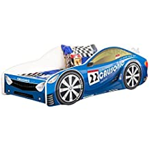 Cama infantil coche de carreras + somier (barandas) + colchón de espuma con cubierta 140x70 cm 160x80 cm 180x80 cm
