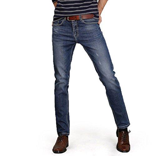 Honghu Herren Slim Fit Jeans Hosen Casual Neu Trend Regular Straight Hellblau