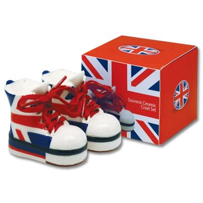 Union Jack Boot Salt & Pepper: Souvenir Ceramic Cruet Set