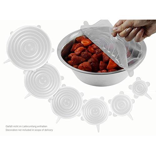 Flexible Silikon-Frischhaltedeckel - dehnbare und wiederverwendbare Deckel für Schüsseln, Gläser, Töpfe. Transparent (6er Set)