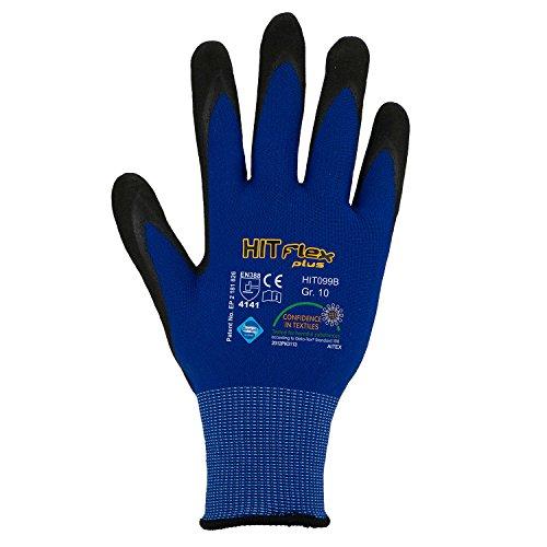Asatex HIT099B 9 Nitril-Mikroschaum-Handschuhe besonders atmungsaktiv Größe 9, Grau / Blau, 9