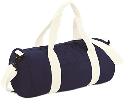 Griff Duffle (BagBase Gurtband Griffe College Schule Gym Duffle Original Barrel Bag, One Size Gr. Einheitsgröße,  - French Navy/ Off White)