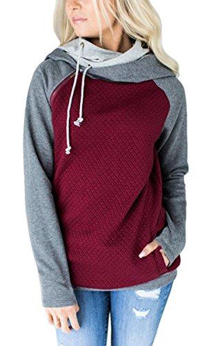 ECOWISH Damen Kontrastfarbe Pulli Pullover Rollkragen Sweatshirt Kapuzenpulli Top Hoodies Weinrot XL