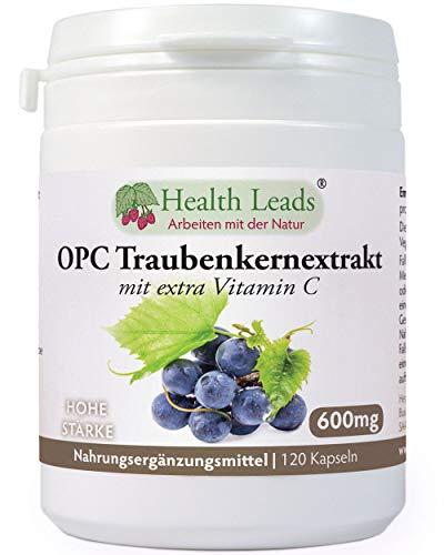 Reine OPC (Oligomeric Proanthocyanidins) Traubenkernextraktkapseln |600mg hohe Stärke reinstes OPC | Ohne Magnesiumstearate oder üblen Zusätzen | Für Vegan und Vegetarier geeignet | mit exta Vitamin C (Ascorbinsäure), dass zum Schutz der Zellen gegen oxidativen Stress beiträgt | Hergestellt von Health Leads UK