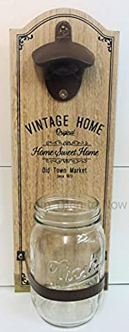 Vintage Home Wooden Bottle Opener Wall Mounted With Cap Catcher Jar