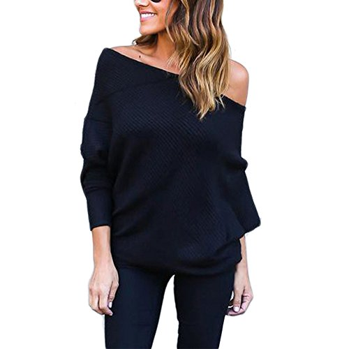 BAINASIQI Damen Elegant Langarm Schulterfrei Pullover Sweater Übergroß Strickpullover Bluse Tops Oberteil (M, Schwarz)
