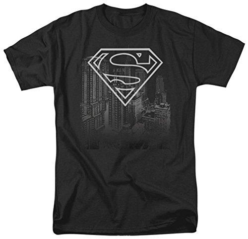Superman Skyline Erwachsene T-Shirt - Schwarz -