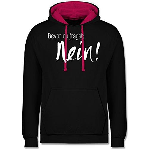 Statement Shirts - Bevor du fragst: Nein - Kontrast Hoodie Schwarz/Fuchsia