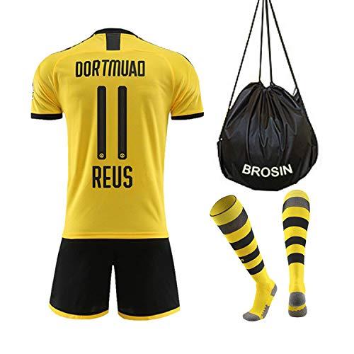Fußball-T-Shirt Sportanzug Trikot, Borrusia Dortmund BVB Home #22 Christian PULISIC, Reus #11 HeimFußball-Sportbekleidung, Jungen-T-Shirt Für Kinder + Kurz + Socke (6-8Years/24Reus, Reus 2020)