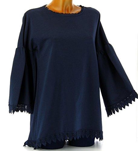 Charleselie94® - Tunique longue sweat femme dentelle coton bohème hippie bleu marine ELGA BLEU Bleu
