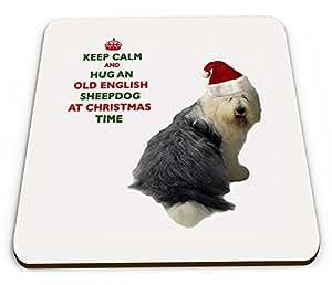 Keep Calm and Hug ein Old English Sheepdog zu Weihnachten/Xmas/Festive Neuheit glänzend Tasse Untersetzer