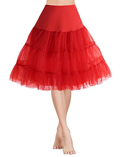 Gardenwed 1950 Petticoat Vintage Retro Reifrock Unterrock für Wedding Bridal Rockabilly Weihnachten Kleid Red ()