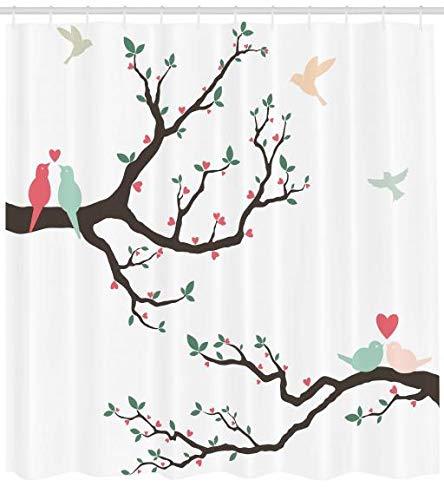 Abakuhaus Duschvorhang, Vögel auf Dem Baum Serenade Partner Zeremonie Valentinstag Romantik Thema Druck, Blickdicht aus Stoff inkl. 12 Ringe für Das Badezimmer Waschbar, 175 X 200 cm