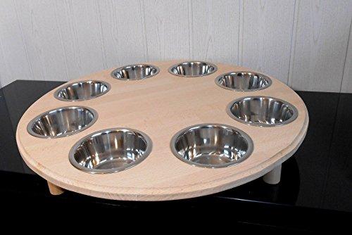 Welpenbar/ Welpennäpfe / Welpenfutter, tolle Futterbar mit 8 Edelstahlnäpfen mit je 350 ml. Handgefertigtes Hundezubehör und Tierbedarf. Lackierung mit Klarlack! Buche! (B8B)