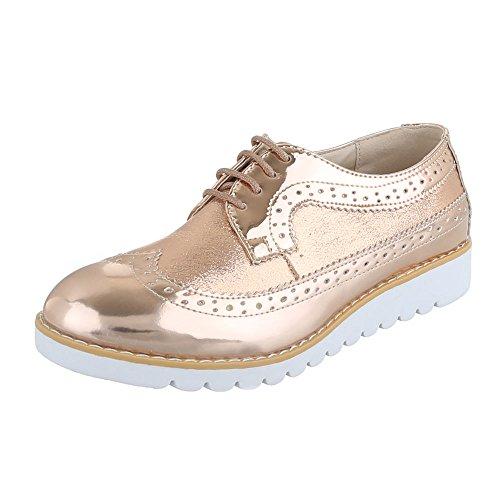 Ital-Design , Chaussures à lacets femme Rosa Gold