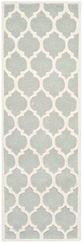 Safavieh Geometrisch gemusterter Teppich, CHT734, Handgetufteter Wolle Läufer, Grau/Elfenbein, 62 x 240 cm - Home Trends Geometrischen Teppich