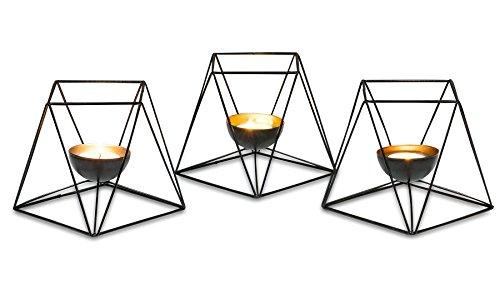 Teelichthalter Windlicht Metallschale schwarz gold verschiedene Größen