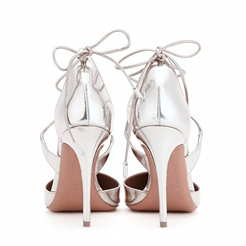 Kolnoo Stiletto Heel Pointed Toe Lace Up Solid Strappy Pumps Größe 35-45 Silber