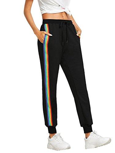 DIDK Damen Hosen Sporthose Casual Streifen Sweathose Elastischer Bund Jogginghose mit Taschen Schwarz#2 M