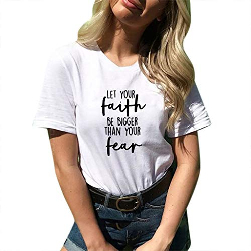 se Bequem Lässig Mode T-Shirt Frühling Sommer Blusen Frauen Lose Oansatz Spitze der Art und Weisefrauen kurzärmeliges Druck(Weiß, S) ()
