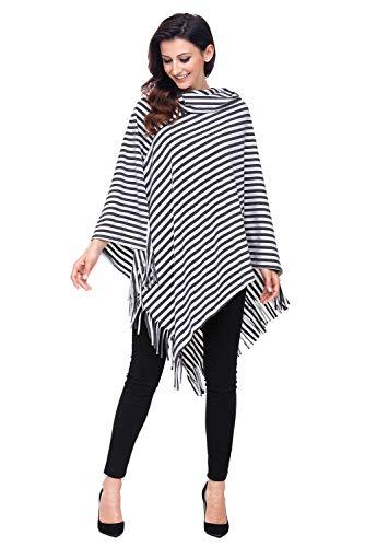 Houjibofa Damen Streifen Cowl Neck Poncho Sweater Grau M -