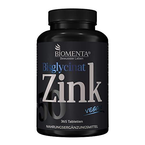 BIOMENTA ZINK 50 mg | AKTION!!! | Zink Bisglycinat (Zink Chelat) | 365 VEGANE Zink-Tabletten | 25 mg Zink je ½ Tablette | Zink HOCHDOSIERT